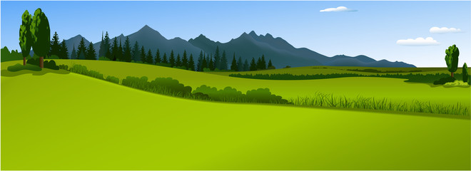 Spoed Fotobehang Lime groen Green landscape with mountains