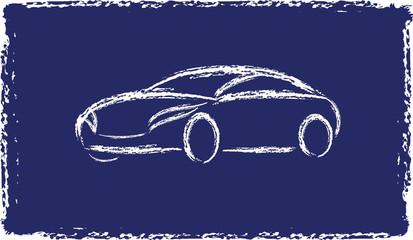 Cartoon grunge silhouette of a car