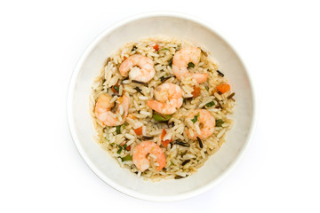 Thai prawn and rice dish over white