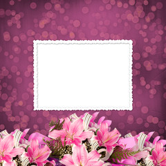 Grunge paper for invitation or congratulations with a bouquet of