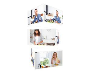 Montage of people enjoying in their kitchen