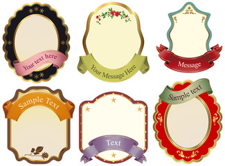 Set or six isolated labels with ribbons on white