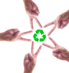 recycle sign in hand make star