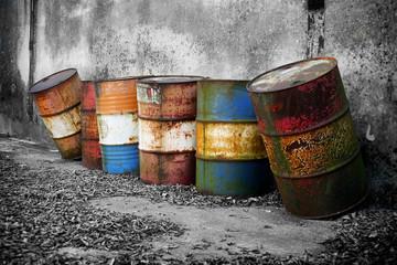 Abandoned rusty barrels