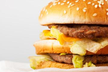 A burger. Unhealthy fast food