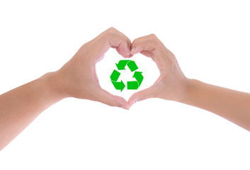 recycle sign in hand heart