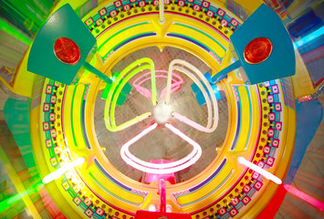 Close-up view of electronic roulette in arcade machine