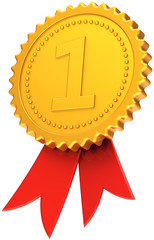 Award ribbon first place golden with red. Number one medal