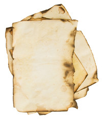 old burned paper background isolated