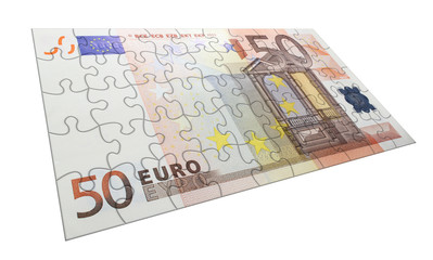 Euro 50 puzzle concept