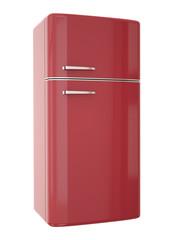 Red refrigerator. 3D render.