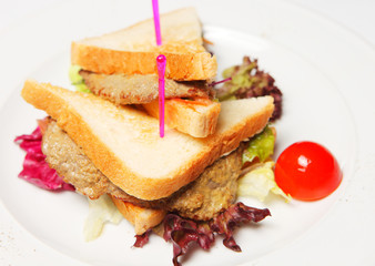 Sandwich with beef on a white plate