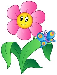 Cartoon flower with butterfly