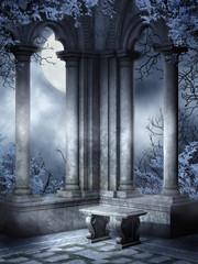 Fototapeta Gotyckie ruiny z kamienną ławką obraz