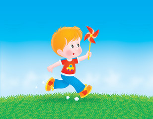 Boy running with a color wheel