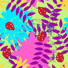 seamless flower pattern with ladybugs