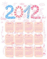 Girly 2012 calendar, week starts on Monday