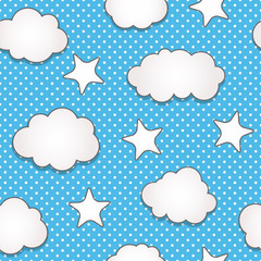 Printed roller blinds Heaven Clouds seamless pattern
