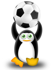 playing football with the penguin