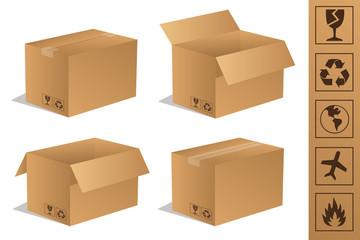 Paket Päckchen Lieferung Box Karton Set 5