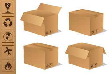 Paket Päckchen Lieferung Box Karton Set 6