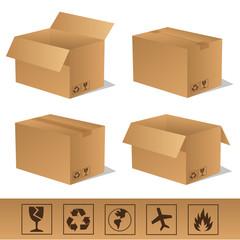 Paket Päckchen Lieferung Box Karton Set 10