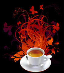 cup of coffee with floral elements