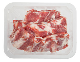 The pork edges in box isolated on white background.