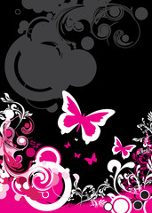 abstract floral and butterfly background