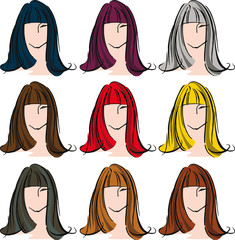 Female face with different hair color. Vector illustration