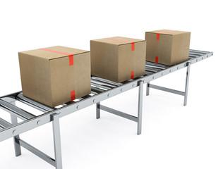 Cardboard boxes on conveyor belt