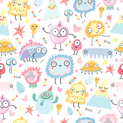 Aluminium Prints Creatures a pattern of funny monsters