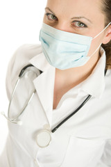Masked woman doctor
