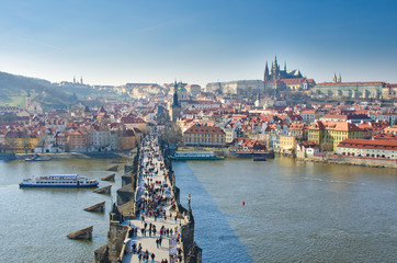 Vltava river, Charles bridge and Prague Castle view, Prague
