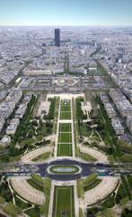 Paris from a height. Field of Mars. View from the Eiffel