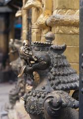 Brass lions at Swayambhunath