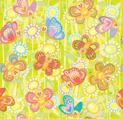 Seamless cute pattern of butterflies