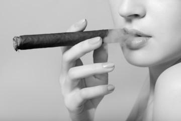 sexy smoking beautiful woman cigar closeup