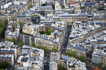 Center of Paris from the top. Roofs and streets.