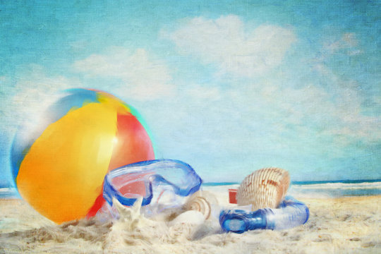 Fun day at the beach/ Digitally rendered painting