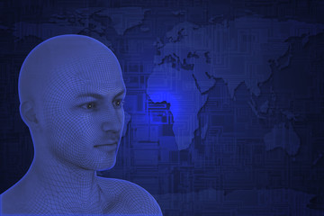 Human head on world map tech background.