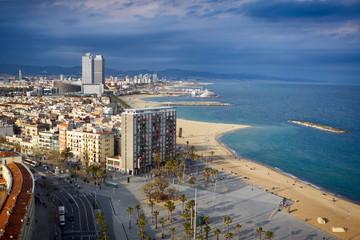 Bird's eye view at the beach of Barcelona, Spain.