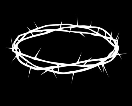white silhouette of a crown of thorns