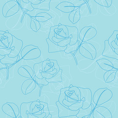 vector light blue seamless pattern with roses