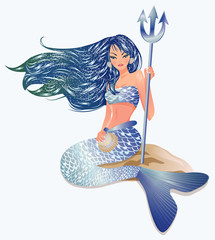 Printed roller blinds Mermaid Mermaid with Trident, vector illustration