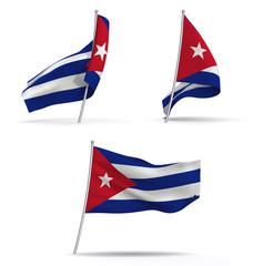Bandera de Cuba. Tres posiciones