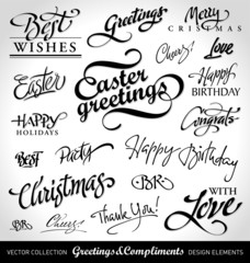 seasonal & holiday greetings, hand lettering (vector)