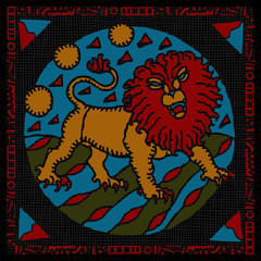 Leo horoscope woodcut