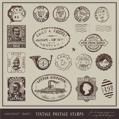 vector set: antique postage stamps