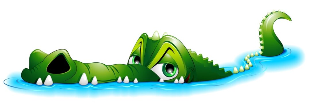 Coccodrillo Cartoon in Acqua-Crocodile in Water-Vector
